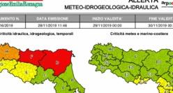 Allerta meteo arancione per criticità idraulica valida fino alla mezzanotte del 30 novembre